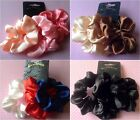 ♥PACK 3 SATIN HAIR SCRUNCHIE PONYTAIL ELASTIC BUN BAND COLOUR CHOICE SCHOOL GYM