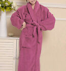 New Women Loose Long Sleepwear Robes Coral Fleece Shawl Collar Bathrobe Spa