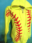 Neon Yellow Red Softball Graphic Full Zip  Hoodie Sweatshirt 50/50 Adult