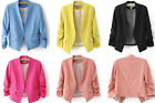 Fashion New Women 3/4 Sleeve Solid Slim Candy Color Suit Blazer Coat Jacket