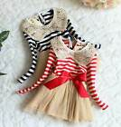 Baby Toddler Girls Spring Fall Sequin Lace Collar Bow Striped Dress Blue,Red