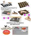 Pet Cat Dog SELF-WARMING THERMAL MAT BED PLAID LEOPARD REVERSIBLE Fleece Crate