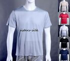 MENS 100% SILK KNITTED T SHIRTS CASUAL TEE UNDER SHIRT SIZE M  BLACK WHITE AF221
