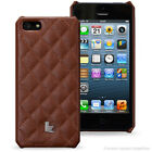 Jisoncase Quilted Real Leather Wallet Rear Case Cover for Apple iPhone 5 5S & SE