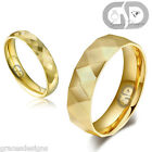 Bridal Wedding Engagement Band Gold IP Diamond Cut Faceted Stainless Steel Ring