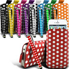 Leather PU POLKA Pull tab Pouch Case W/ Stylus Pen Fits Samsung Mobile Phones
