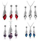 SALE Bridal Wedding Crystal Silver Drop Womens Jewellery Necklace + Earring Set