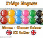 30mm Plastic Fridge Magnet - 6 Colours to choose from 6 or 12 Magnets per Pack