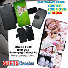 Personalised phone flip / wallet case cover for iphone 7  xr x ,galaxy s8 s7 s9