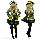 Pirate Fancy Dress Gold Black Costume Women Outfit Captain Buccaneer Sword Sexy