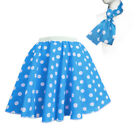 Free Scarf CHILDRENS 12 POLKA DOT ROCK N ROLL Skirt 50s FANCY DRESS COSTUME