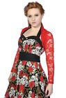 Banned Ladies RED Lace Gothic Steampunk Cropped Top Cardigan Shrug Bolero NEW