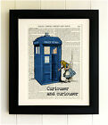 ART PRINT ON OLD ANTIQUE BOOK PAGE *FRAMED* THE TARDIS with Alice, Doctor Who