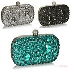Womens Sparkly Crystal Diamante Rhinestone Jewel Satin Evening Clutch Bag BG05