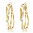 VALENTINE GIFT Gold Filled Crystal Big Hoop Pierced Earring USGM032EE
