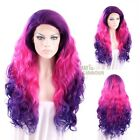 "Long Curly Wavy 18""-28"" Purple Mixed Magenta Lace Front Wig Heat Resistant"