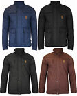 New Mens Jacket Coat Quilted Crosshatch Cord Funnel Neck Zip Lined Casual Winter