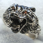 Snarling Wolf Head Ring, Garnet Eyes, hand crafted sterling silver, select size