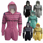 Womens Ladies Hooded Aztec Short Onesie Jumpsuit Playsuit All In One S M L XL