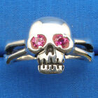 Skull & Cross Bones Ring, Lab Ruby eyes, hand crafter sterling sizes 6 - 13