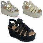 womens new chunky wedge platform ladies strappy gladiator sandals shoes size 3-8