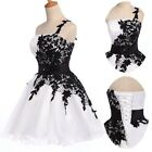 New Black Lace Short Mini Homecoming Ball Gown Cocktail Evening Prom Party Dress