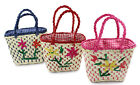 Straw basket wicker basket woven bag girls blue red pink Easter basket