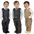 Boys Suits 4 Piece Waistcoat Suit Wedding Page Boy Baby Formal Party 3 Colours