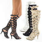 Womens Strappy Stud Buckle Knee High Gladiator Stiletto Heel Pumps Sandals Boots