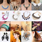 New Womens Bib Statement Necklace Bracelet Earrings Jewelry Chunky Collar Party
