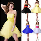 UK STOCK Sexy Mini Gown Prom Ball Cocktail Party Wedding Bridal Bridesmaid Dress