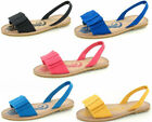 LADIES  BOW TRIM OPEN TOE SLIP ON SLINGBACK  SUMMER SANDALS F0688