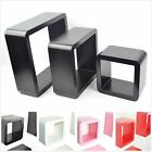 Set of 3 pcs of Cube Wall Shelves MDF shelf round corner floating decoration