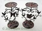 Small Metal Bird Butterfly Candlestick Candle Holder Shabby Chic Distressed Pink
