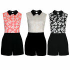 Womens Peter Pan Black Collar Daisy Print Top Contrast Casual Party Playsuit