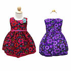 NEW Girls Cotton Corduroy Floral Print Dress with Applique Flowers Size 000-4