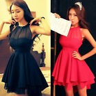 GK Trendy Women Slim Fit Irregular Hem Short Chic Chiffon Mini Dress Size S~M