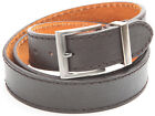 "1.5"" Mens Brown Heavy Grain Man-made Leather Belt with Metal Buckle"