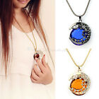 Fashion Moon Shape Crystal Rhinestone Sweater Chain Necklace Blue/coffee Pendant