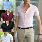 Mens Boys Luxury Casual Slim Fit Design Short Sleeves Dress Shirts Solid Colors