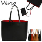 VERSO CONTRAST INTERIOR TOTE SHOPPING SHOPPER HANDBAG PURSE REAL COWHIDE LEATHER