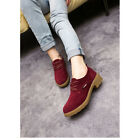 New Womens Lady Suede Leather Dress Formal Oxfords Flats Shoes Lace Up Round Toe