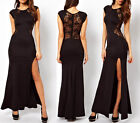 Ladies Lace Long Bodycon Evening Cocktail Fashion Dress Cut Out Black Red XS~L