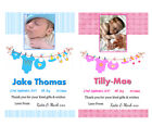 10 PERSONALISED BABY BOY OR GIRL BIRTH ANNOUNCEMENTS & THANK YOU CARDS - CLOTHES
