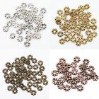 100Pcs Antique Silver/Gold/Bronze Tone Daisy Flower Spacer Beads For DIY 6mm New