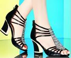 2014 New women's sexy open toe rhinestone openwork after zipper thick with shoes