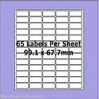 A4 Self Adhesive Labels ~ Avery Compatible L7651 ~ 65 per Sheet 38.1 x 21.2mm