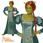 Shrek Fiona Costume +Wig Princess Ogre Ladies Womens Fancy Dress Outfit UK 12-16