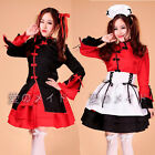 New Cosplay Costume red lolita sexy servant Maid Outfits Party Dress Setapron