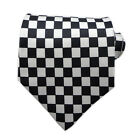 UK Mens Neckties Black & White Checked Print Polyester Party Tie